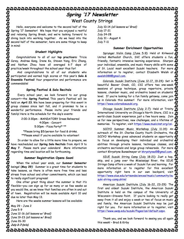 Spring '17 Newsletter