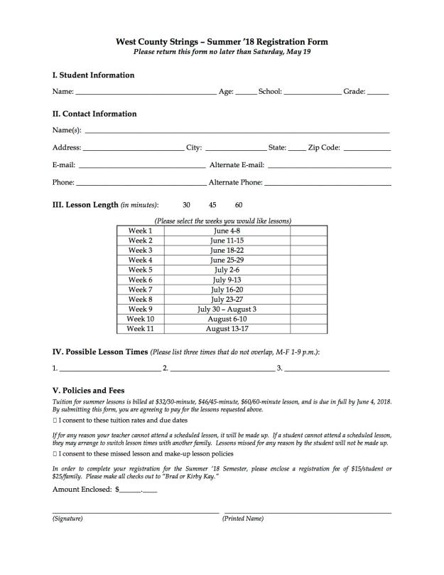 SU18 Registration