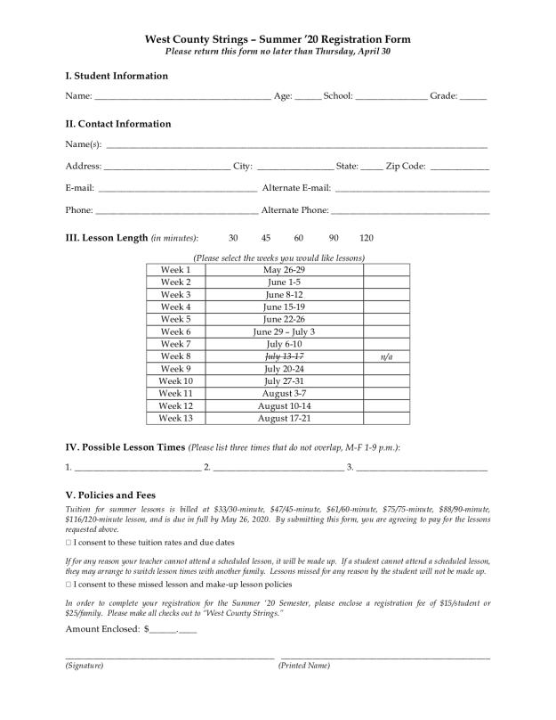 SU20 Registration